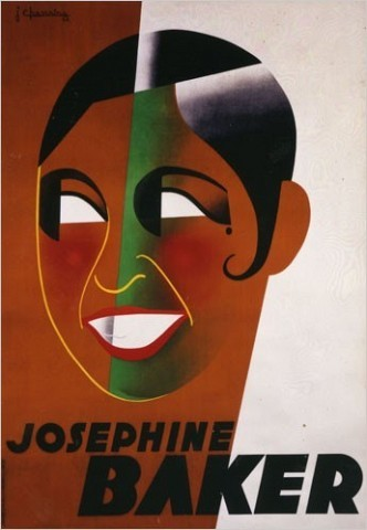A poster depicting Josephine Baker, designed by Jean Chassaing, 1931. The show jumps from Parisian and New York architectural designs and city plans to that famous American expatriate Josephine Baker and the relatively integrated nature of Paris night life, which is evoked by Marcel Vertè's Lautrec-like lithographs. [Photo: Museum of the City of New York]