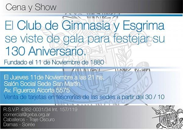 Geba se Viste de Gala. 130 Aniversario. Jueves 11 Noviembre 2010, Sede San Martín