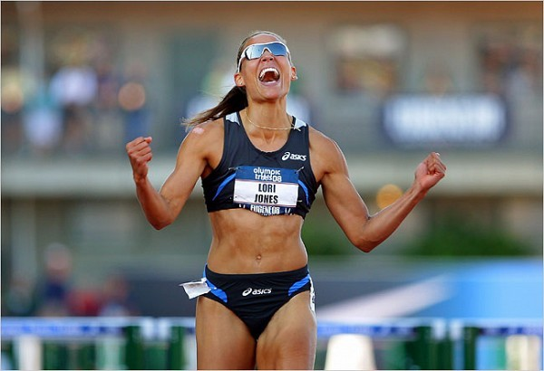 [Matthew Stockman/Getty Images]Lolo Jones celebrated winning the women's 110 meters hurdles final at the U.S. Olympic Track and Field Trials in July.