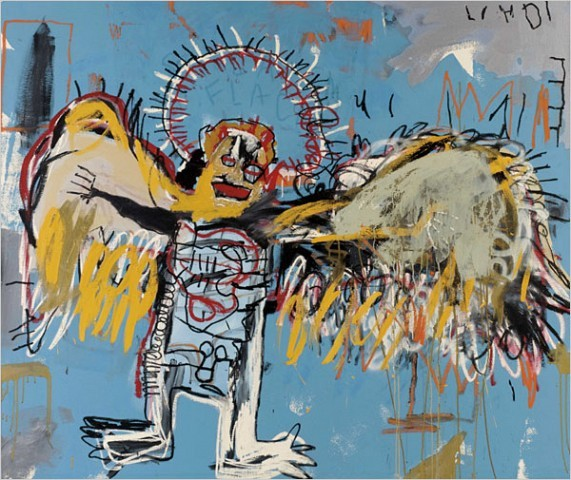 "[Sotheby's, via Bloomberg News] Jean-Michel Basquiat's ""Untitled (Fallen Angel),"" from 1981, was the evening's top seller, snapped up for $11.2 million."
