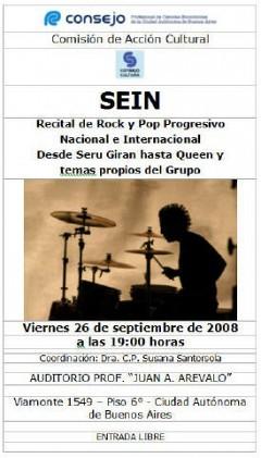 SEIN, Recital de Rock en el Consejo, Viernes 26 de Septiembre 2008