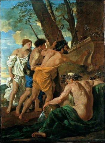 """[Photo: Devonshire Collection, Chatsworth, Chatsworth Settlement Trustees]Nicolas Poussin (1594-1665): """"The Arcadian Shepherds""""If you have never associated Classicism with passion, or Romanticism with passions held in check, you may begin to after you spend time with Poussin."""