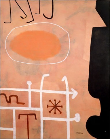 """[Photo: © Adolph and Esther Gottlieb Foundation/Licensed by VAGA, New York, NY] """"Sentinel"""" (1951) by Adolph Gottlieb The show's 38 canvases represent 17 painters, including a selection of works by Abstract Expressionist precursors titled """"Origins of Color Field."""" The elders tend to look as light and jazzy as their juniors; in fact, Adolph Gottlieb, Hans Hoffman and Robert Motherwell, all present, were ultimately as much a part of Color Field as Abstract Expressionism."""