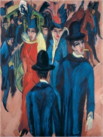 "[Photo: Neue Galerie, New York/Ingeborg and Dr. Wolfgang Henze-Ketterer, Wichtrach, Bern] ""Berlin Street Scene"" (1913) by Ernst Ludwig Kirchner Ken Johnson writes: ""Kirchner and the Berlin Street,"" opening Sunday at the Museum of Modern Art, delivers a terrific visual wallop right at the start and then continues to reverberate. The main event is a set of seven paintings by the German Expressionist Ernst Ludwig Kirchner (1880-1938), produced from 1913 to 1915."