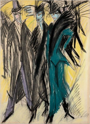 """[Photo: Städel Museum, Frankfurt am Main/Ingeborg and Dr. Wolfgang Henze-Ketterer, Wichtrach, Bern] Ernest Ludwig Kirchner, """"Berlin Street Scene"""" (1914) Vigorously realized in jagged brushstrokes, lurid pinks, greens and yellows and shades of charcoal black, they depict stylishly dressed streetwalkers and furtive men on the vertiginously tilted streets of an infernal city. As represented in Kirchner's angular, semi-Cubist style, the prostitutes resemble praying mantises or queen wasps, and the men are like anonymous drones."""