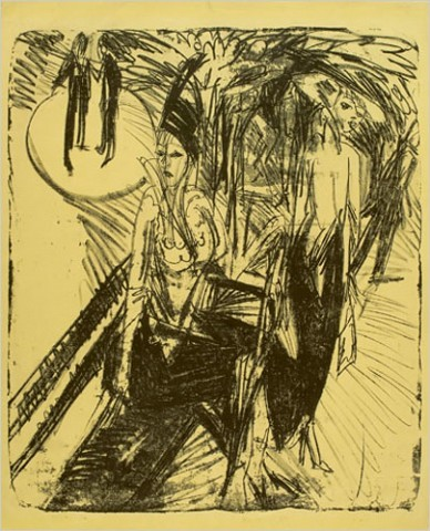 """[Photo: Sprengel Museum, Hannover/Ingeborg and Dr. Wolfgang Henze-Ketterer, Wichtrach, Bern]""""Cocottes on the Kurfrstendamm"""" (1914)/ Ernst Ludwig Kirchner """"Berlin's Street Scenes""""/ The exhibition also includes about 60 drawings and prints, which tell much about Kirchner's working methods. He did not base his paintings on careful preparatory drawings. Rather, he filled notebooks with scribbly, often indecipherable pencil sketches made while wandering the streets. In the studio he created more fully formed pictures on paper and canvas."""