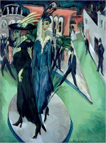 "[Photo: Nationalgalerie, Staatliche Museen zu Berlin/Bildarchiv Preußischer Kulturbesitz, via Art Resource, New York and Ingeborg and Dr. Wolfgang Henze-Ketterer, Wichtrach, Bern] Ernst Ludwig Kirchner ""Women on the Street"" (1915) Around 1911 the Brücke artists moved to Berlin, and two years later the group acrimoniously disbanded. Kirchner entered what he later described as ""one of the loneliest times of my life, during which an agonizing restlessness drove me out onto the streets day and night, which were filled with people and cars."" It was then that he began the Berlin street series."