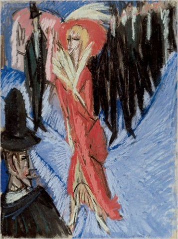 """[Photo: Staatsgalerie Stuttgart, Graphische Sammlung/Ingeborg and Dr. Wolfgang Henze-Ketterer, Wichtrach, Bern] Ernest Ludwig Kirchner, """"Red Cocotte"""" (1914)"""" / Kirchner was not a gifted painter, but his paintings have a bracing ugliness and a burning emotional intensity. Looking at his claustrophobic pictures is like seeing through the feverish eyes of a lost and tormented soul. Considered among the most important achievements of Kirchner's career, the Berlin paintings are exhibited together for the first time here."""