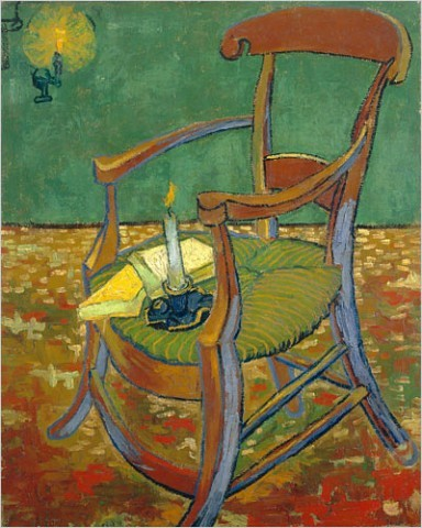 """[Photo: Van Gogh Museum, Amsterdam]Vincent van Gogh (1853-1890)""""Gauguin's Chair""""/ Finally, with """"Gauguin's Chair,"""" Van Gogh is back indoors painting by candlelight. The world he creates here is a rich assortment of browns, greens and blues, pierced by the light. One candle rests on the chair's caned seat and is identified in the wall label as a stand-in for van Gogh's absent friend. Does this mean that the second candle, keeping a safe distance in a sconce on the wall, is Vincent?"""