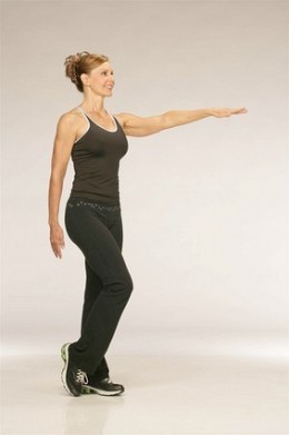 [Charles Bush/May 1, 2007]Step 1 Stand with both feet together, then shift your body weight over your left leg and bend your right knee. Reach your left arm in front of you, or place it directly on a sturdy surface to help you balance.