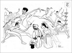 """[Al Hirschfeld]West Side Story""""(Sept. 22, 1957) Larry Kert and Carol Lawrence, center, played the star-crossed lovers in """"West Side Story.""""The cast also included Ken LeRoy, left, and Mickey Calin, as switch-blade street fighters, and Chita Rivera (with earings)."""