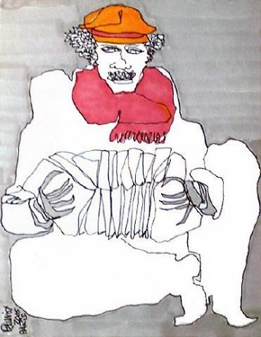 Pablo Di MassoBANDONEÓN Y BUFANDA ROJA200612 x 15 cm