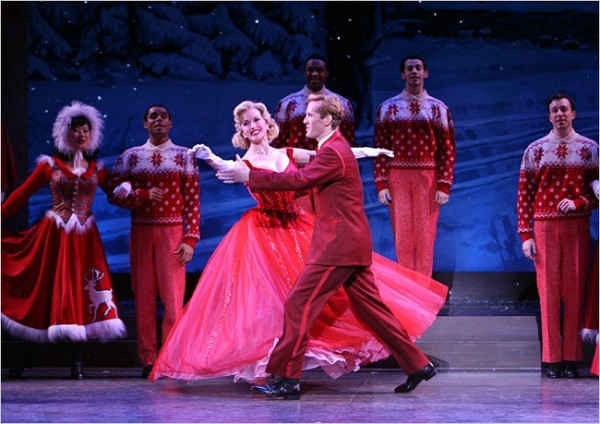 """[Sara Krulwich/The New York Times]Meredith Patterson and Jeffry Denman in the musical """"Irving Berlin's White Christmas"""" at the Marquis Theater"""