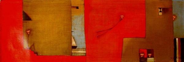 Antonia Guzmán El Dia de la Partida 2004 10 x 30 inches painting, acrylic on canvas