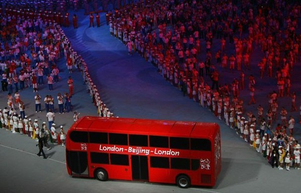[Photograph: Shaun Botterill/Getty Images] A London bus is driven into the stadium