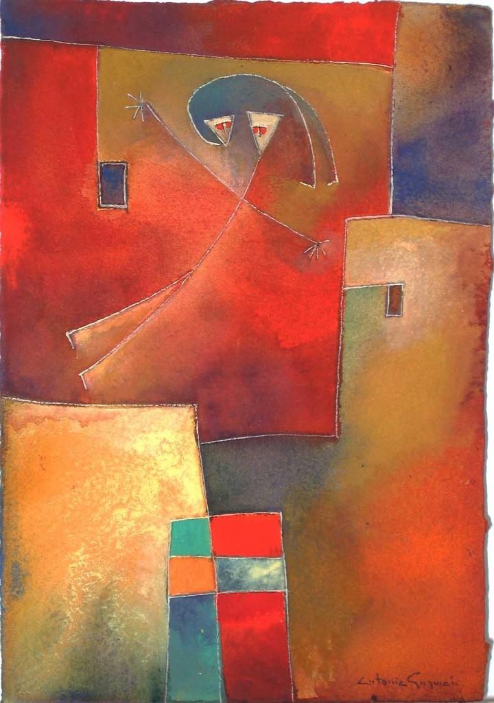 Antonia Guzmán<br>La Noticia<br>2008<br>Watercolor on handmade paper<br>8.3 x 6 in