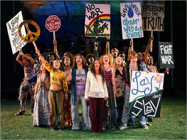 """[Sara Krulwich/The New York Times] The Public Theater's revival of the ensemble 1967 musical, """"Hair,"""" by Gerome Ragni, James Rado and Galt MacDermot, is playing at the Delacorte Theater in Central Park through Aug. 31."""