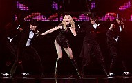 Madonna's Sticky and Sweet Tour made its first American stop at the Izod Center in East Rutherford, N.J., on Saturday night.