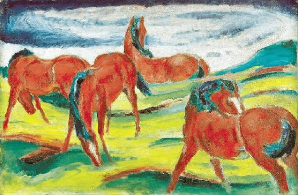 [S OT H E BY' S I M P R ES S I O N I ST/ M O D E R N A RT]TAKING A BITE The sale of Impressionist and Modern art at Sotheby's in London included Franz Marc's 'Grazing Horses III' (1910), which sold for $24 million. Sales at Sotheby's and Christie's were higher than the previous auctions held in London during February.
