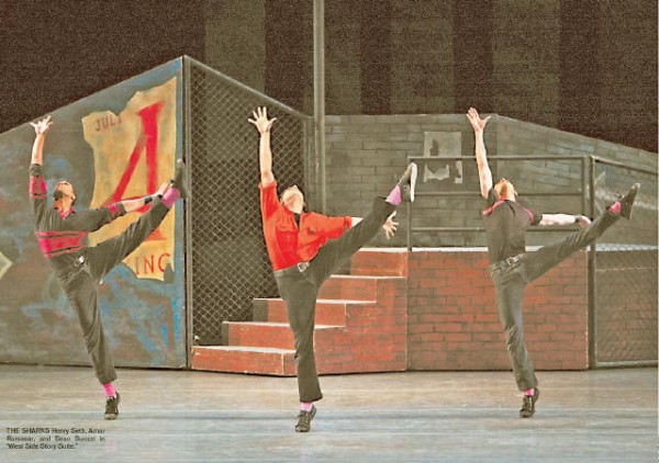[PAUL KOLNIK]<br>THE SHARKS Henry Seth, Amar Ramasar, and Sean Suozzi in 'West Side Story Suite.'