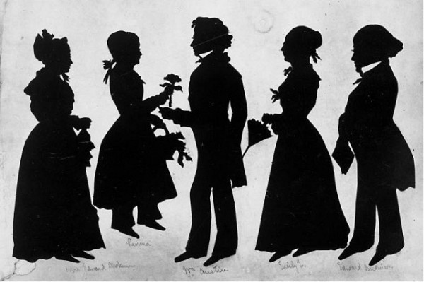[THE HOUGHTON LIBRARY, HARVARD UNIVERSITY] TIGHT CIRCLE A Dickinson family silhouette from 1848.