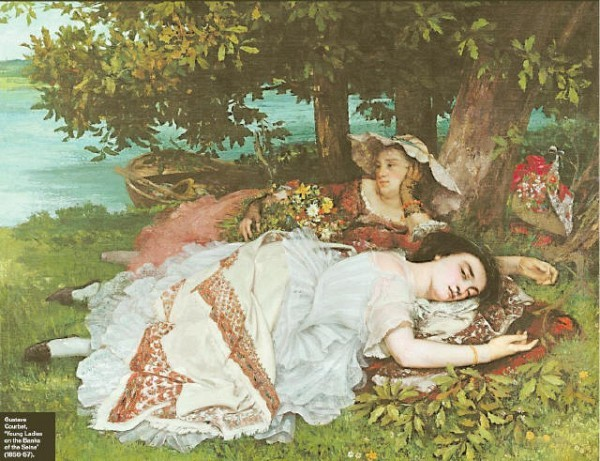 [M E T R O P O L I TA N M U S E U M O F A RT] Gustave Courbet, 'Young Ladies on the Banks of the Seine' (1856–57).