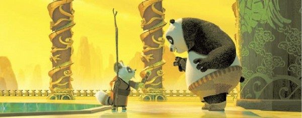 [DREAMWORKS ANIMATION LLC] NECESSITIES Master Shifu, left, voiced by Dustin Hoffman, trains Po, voiced by Jack Black, in the DreamWorks picture 'Kung Fu Panda.'