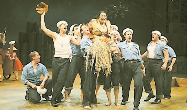 RAISING A BLOODY MARY Loretta Ables Sayre, center, in a scene from 'South Pacific.' [JOAN MARCUS]
