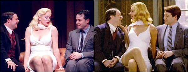 "[Left, Sara Krulwich/ The New York Times; Universal Pictures] The musical versions of ""The Producers,"" onstage, (with, from left, Nathan Lane, Cady Huffman and Matthew Broderick) and on screen, right (with Uma Thurman flanked by Mr. Lane and Mr. Broderick)."