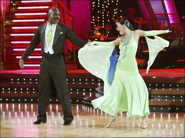 """[Adam Larkey/ABC]Evander Holyfield and Edyta Sliwinska on ABC's """"Dancing With the Stars,"""" which pairs a celebrity with a professional dance partner."""