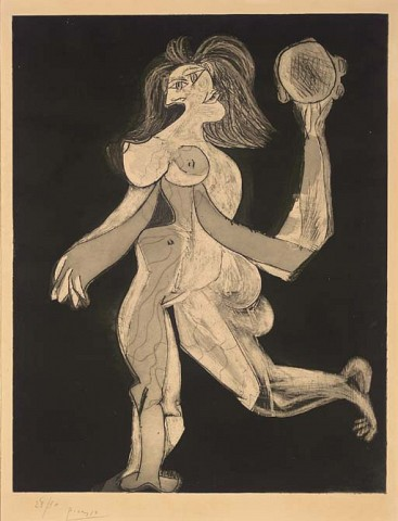 Pablo PicassoLa Femme au Tambourin (B. 310; Ba. 646 V Ba)aquatint with etching and scraper, 1938, on Arches, signed in pencil, numbered 28/30, with wide margins, very pale discoloration in the margins and on the reverse, two skillfully repaired tears in the margins, one at the upper sheet edge and one at the upper right (neither touching the platemark), occasional very minor inconspicuous scuffs and abrasions, otherwise in good condition, framedP. 664 x 511 mm., S. 754 x 565 mm.