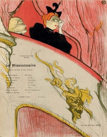 HENRI DE TOULOUSE-LAUTRECLa loge au mascaron doré (D. 16; W. 16; Adr. 69)lithograph in colors, 1893, on wove paper, from the Theatre programme edition of unknown size (there were also a few trial proofs and a first edition of 100 before text), 1894, printed by Ancourt, the full sheet, two restored horizontal folds and one restored vertical fold, a few restorations in the black dress, otherwise in good condition, framedS. 12 1/8 x 9½ in. (308 x 240 mm.)
