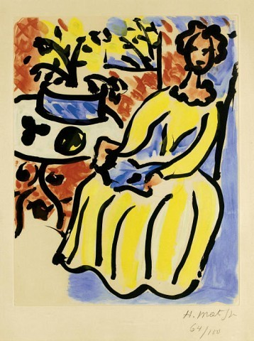 HENRI MATISSE Marie-José en robe jaune (D. 817) aquatint in colors, 1950, on Arches, signed in pencil, numbered 64/100, with full margins, light-, mat and time staining, surface soiling, occasional foxing, otherwise in good condition, framed P. 21 1/8 x 16½ in. (537 x 419 mm.) S. 29 7/8 x 22 in. (759 x 559 mm.)