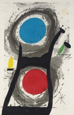 JOAN MIRO L'Adorateur de soleil (D. 483) etching, aquatint, and carborundum in colors, 1969, on Arches, signed in pencil, annotated 'H.C.' (the edition was 75), the full sheet, the purple attenuated, minor surface soiling, occasional soft handling creases, otherwise in good condition, framed S. 41¾ x 26¾ in. (1061 x 680 mm.)