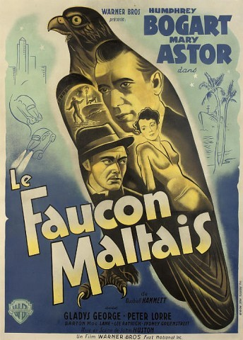 The Maltese Falcon Le Faucon Maltais 1941, Warner Bros., French, style B -- 63x47in. (160x120cm.), linen-backed, (B+)