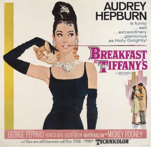 Breakfast At Tiffany's 1961, Paramount, U.S. six-sheet -- 81x81in. (205.7x205.7cm.), linen-backed, (A-)