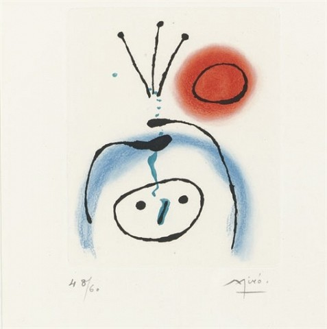JOAN MIRO Suite la bague d'aurore: one plate (D. 123; see C. books 45) etching and aquatint in colors, 1957, on Rives, signed in pencil, numbered 48/60 (the total edition was 89, there were also a few artist's proofs), with full margins, three minute accretions (with the softest associated rubbing), the palest mat staining, very minor surface soiling at the sheet edges, otherwise in very good condition, framed P. 5½ x 4½ in. (140 x 114 mm.) S. 14 7/8 x 11 1/8 in. (378 x 283 mm.)
