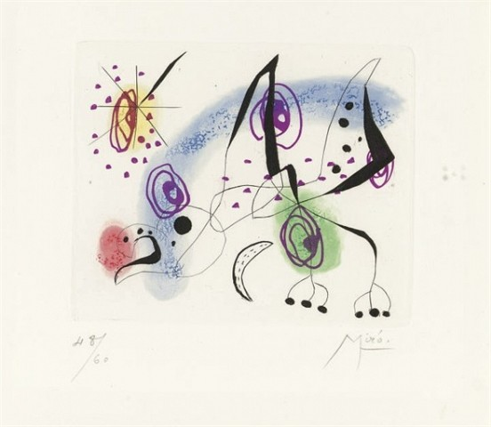 JOAN MIRO Suite la bague d'aurore: one plate (D. 137; see C. books 45) etching and aquatint in colors, 1957, on wove paper, signed in pencil, numbered 48/60 (the total edition was 89, there were also a few artist's proofs), with full margins, minor surface soiling, the palest mat and time staining, otherwise in very good condition, framed P. 4½ x 5½ in. (114 x 140 mm.) S. 14 7/8 x 11 1/8 in. (378 x 283 mm.)