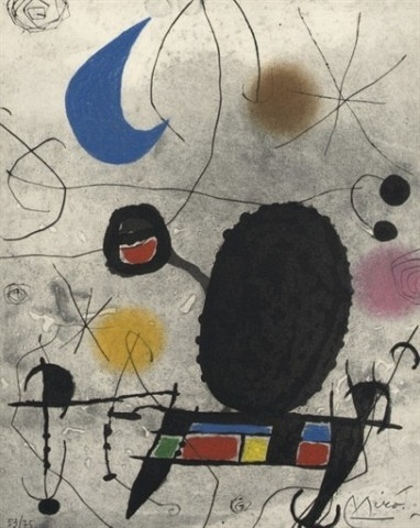 JOAN MIRO Oiseau solaire, oiseau lunaire, étincelles: one plate (D. 448; see C. books 117) etching, aquatint and carborundum in colors, 1969, on wove paper, signed in pencil, numbered 53/75 (there was also a signed edition of 25 in Roman numerals), the full sheet, in very good condition S. 12¼ x 9 5/8 in. (311 x 245 mm.)