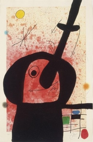JOAN MIRO Le penseur puissant (D. 514) aquatint, etching and carborundum in colors, 1969, on Arches, signed in pencil, numbered 23/75 (there were also a few artist's proofs), the full sheet, some minor rubbing, occasional soft handling creases, otherwise in very good condition, framed S. 41½ x 26¾ in. (1054 x 680 mm.)