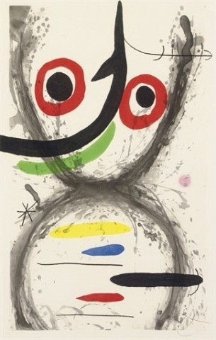 JOAN MIRO Prise à l'hameçon (D. 515) etching, aquatint and carborundum in colors, 1969, on Arches, signed in pencil, annotated 'HC' (an hors commerce proof, the edition was 75 plus a few artist's proofs), with full margins, in very good condition, framed P. 38 7/8 x 23½ in. (987 x 597 mm.) S. 41¾ x 26 7/8 in. (1061 x 683 mm.)