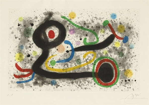 JOAN MIRO Sous la grêle (D. 520) aquatint in colors, 1969, on Chiffon de Mandeure, signed in pencil, annotated 'e.a.' (an artist's proof, the edition was 75), with full margins, rippling throughout, occasional soft handling creases, pale mat staining, pinpoint foxing in the margins, otherwise in good condition, framed P. 17 1/8 x 27 in. (435 x 686 mm.) S. 24¾ x 35¼ in. (629 x 895 mm.)