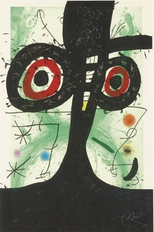 JOAN MIRO Le vieil Irlandais (D. 521) etching, aquatint and carborundum in colors, 1969, on Arches, signed in pencil, numbered 39/75 (there were also a few artist's proofs), the full sheet, a few pinpoint foxmarks, pale mat and time staining, otherwise in good condition, framed S. 41¼ x 27½ in. (1047 x 698 mm.)