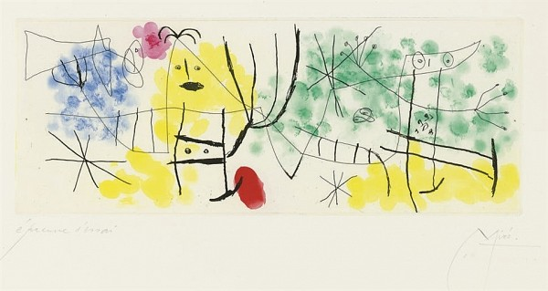 JOAN MIRO Erik Satie: poèmes et chansons: one plate (D. 523; not in C. books) etching and aquatint in colors, 1969, on Rives BFK, signed in pencil, annotated 'épreuve d'artiste' (an artist's proof, there was no published edition), with full margins, occasional soft handling creases, pale mat staining, otherwise in good condition, framed P. 5½ x 14 in. (140 x 356 mm.) S. 12 7/8 x 19 7/8 in. (327 x 505 mm.)