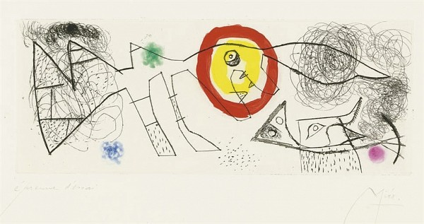 JOAN MIRO Erik Satie: poèmes et chansons: one plate (D. 525; not in C. books) etching and aquatint in colors, 1969, on Montval, signed in pencil, annotated 'épreuve d'artiste' (an artist's proof, there was no published edition), with full margins, pale light- and time staining, occasional soft handling creases, a few pinpoint foxmarks in the margins, otherwise in good condition, framed P. 5½ x 14 in. (138 x 355 mm.) S. 13 x 20¼ in. (330 x 514 mm.)