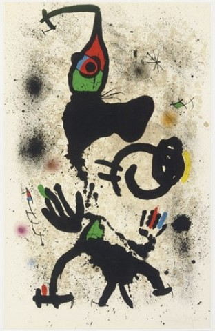 JOAN MIRO Le pêcheur d'éponges (M. 697) lithograph in colors, 1971, on Arches, signed in pencil, numbered 20/50, the full sheet, minor surface soiling, the palest mat staining, otherwise in good condition, framed S. 47 5/16 x 29¾ in. (120 x 755 mm.)
