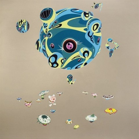 Takashi Murakami (b. 1962) Close Encounters of the Third Kind signed and dated 'Takashi 01' (on the reverse) acrylic on canvas on board 78¾ x 78¾in. (200 x 200cm.) Painted in 2002