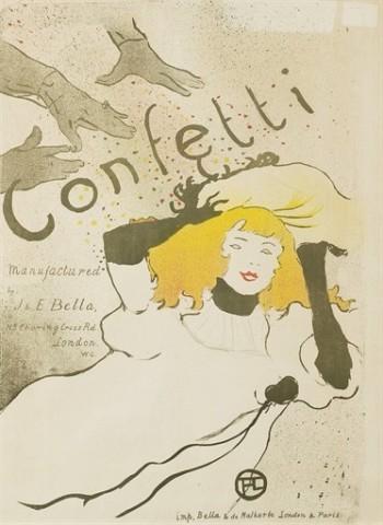 HENRI DE TOULOUSE-LAUTREC (1864-1901)Confetti (Wittrock P13; Delteil 352; Adriani 101)Lithographie en couleurs, 1894, sur papier vélin, état unique du Wittrock, entoilée, cadre56.5 x 43.8 cm. (22¼ x 17¼ in.)