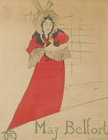 HENRI DE TOULOUSE-LAUTREC (1864-1901) May Belfort (Wittrock P14; Delteil 354; Adriani 126) Lithographie en couleurs, 1895, sur papier vélin, état B IV du Wittrock (sur C), avec l'adresse de Kleinmann, entoilée, cadre 77.8 x 60.4 cm. (30 5/8 x 23¾ in.)