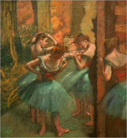 "[Photo: Librado Romero/The New York Times] Edgar Degas, ""Dancers, Pink and Green"" / Even if you've been looking at Degas ballet pictures for decades, it remains astonishing how few of his dancers are actually dancing. The rest are stretching, adjusting ribbons and costumes, waiting in the wings, resting, gossiping or watching what performing there is."